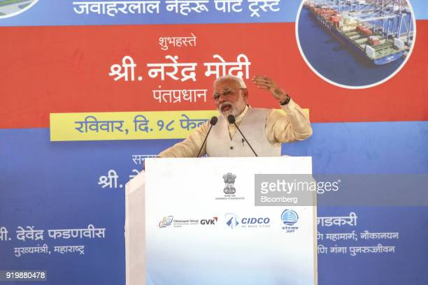 Narendra Modi India's prime minister speaks during a ceremony at the site of the new Navi Mumbai International Airport in Navi Mumbai India on Sunday...