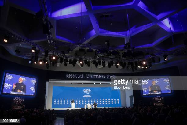 Narendra Modi India's prime minister speaks during a plenary session on the opening day of the World Economic Forum in Davos Switzerland on Tuesday...