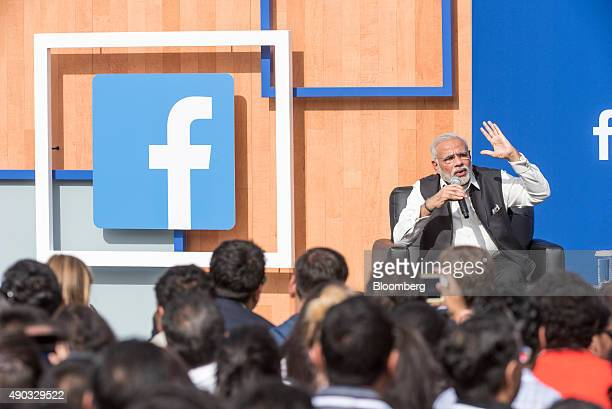 Narendra Modi India's prime minister speaks during a town hall meeting at Facebook Inc headquarters in Menlo Park California US on Sunday Sept 27...