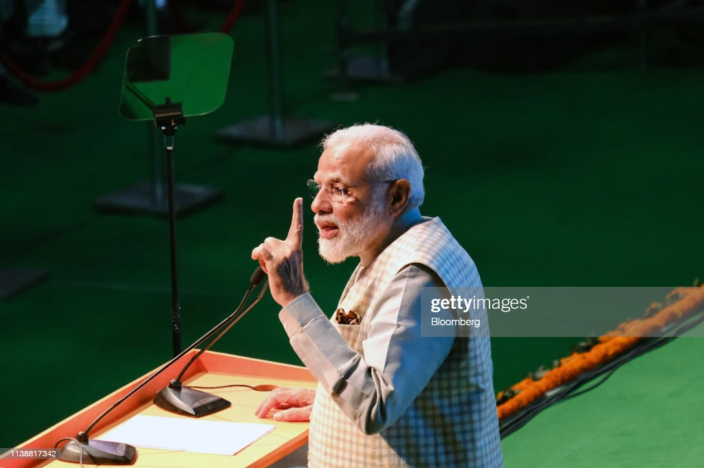 India Prime Minister Narendra Modi Speaks At A Traders National Convention : News Photo
