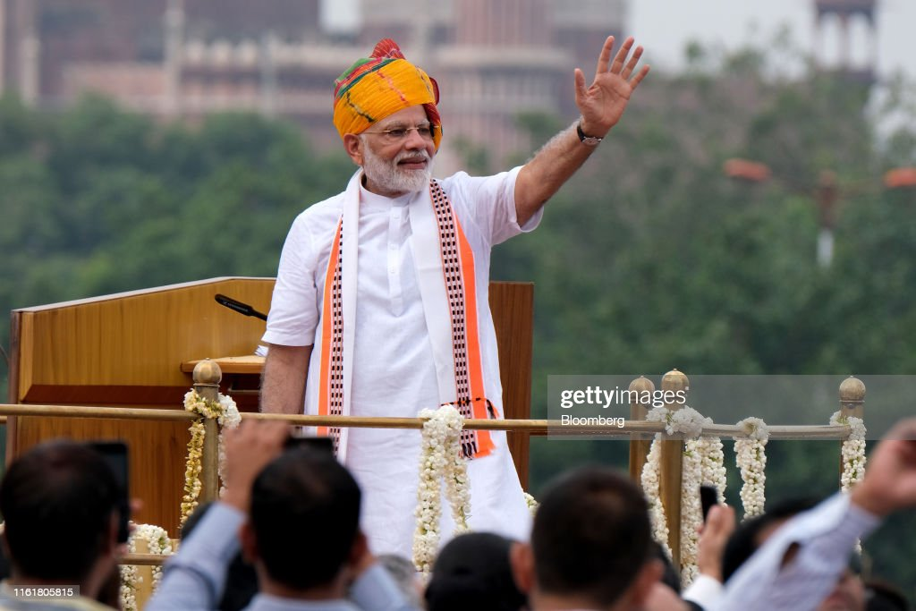 India Prime Minister Narendra Modi At Red Fort For Independence Day Celebrations : News Photo