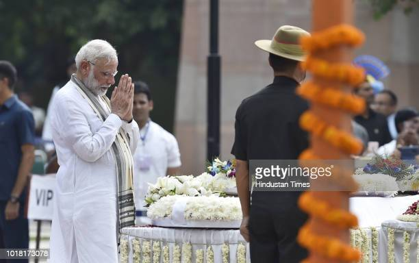Narendra Modi Prime Minister of India pays his last respect during the cremation ceremony of former Prime Minister Late Atal Bihari Vajpayee at...
