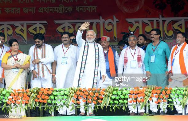 Narendra Modi Prime ministers of India at the Bjp political party rally at West Mednapore district in West Bengal on July 162018 in India