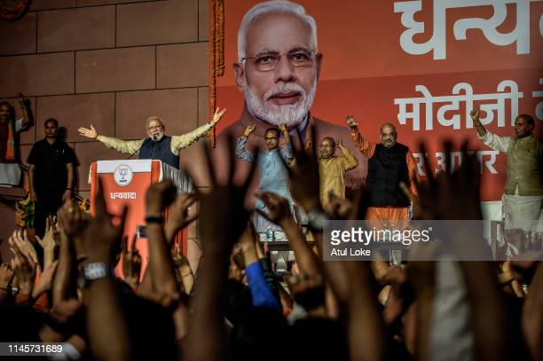 Narendra Modi speakes to the victorious party workers at the BJP party head quarters in New Delhi, India. Indian Prime Minister Narendra Modis...