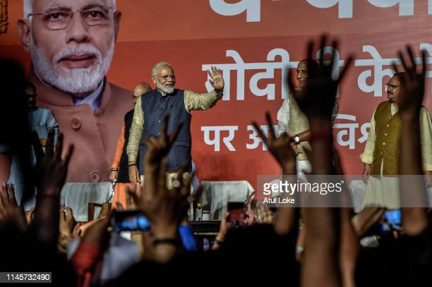 Narendra Modispeaks to the victorious party workers at the BJP party head quarters in New Delhi India Indian Prime Minister Narendra Modis Bharatiya...