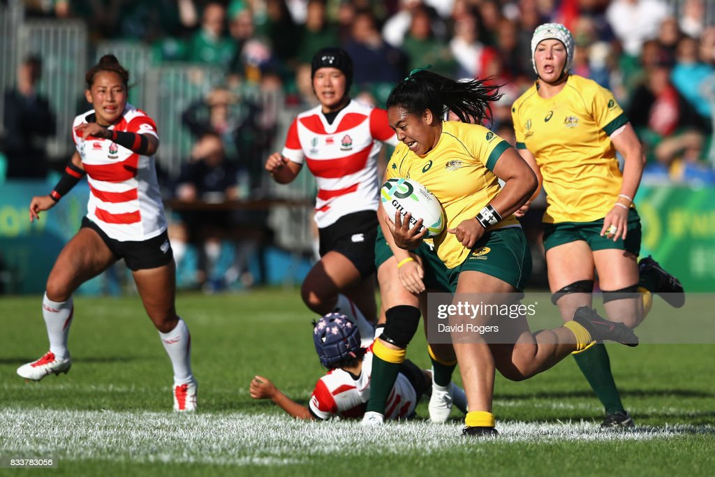 Nareta Marsters of Australia breaks through before she scores a try during the Women's Rugby World Cup Pool C match between Australia and Japan at Billings Park UCD on August 17, 2017 in Dublin, Ireland.