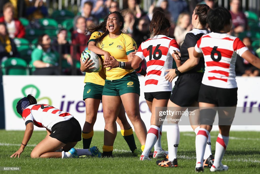 Nareta Marsters of Australia celebrates after scoring a try during the Women's Rugby World Cup Pool C match between Australia and Japan at Billings Park UCD on August 17, 2017 in Dublin, Ireland.