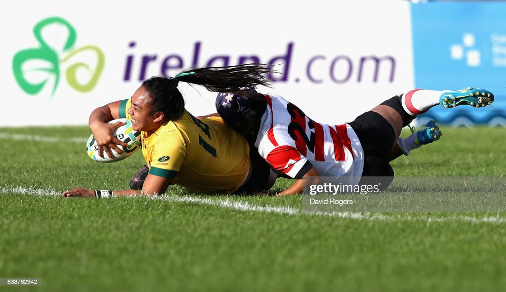Nareta Marsters of Australia scores a try during the Women's Rugby World Cup Pool C match between Australia and Japan at Billings Park UCD on August 17, 2017 in Dublin, Ireland.