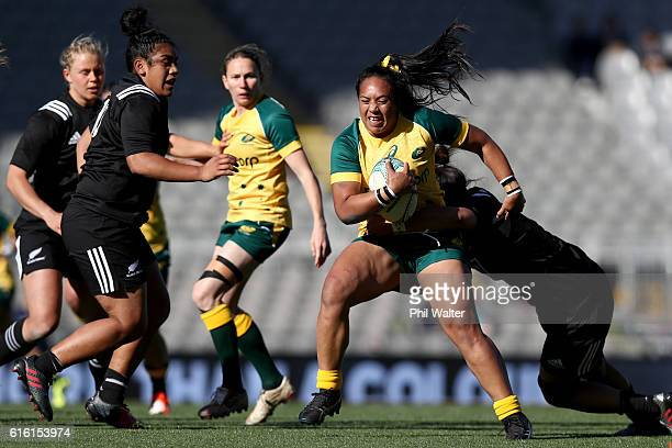 Nareta Marsters of the Wallaroos is tackled during the international womens Test match between the New Zealand Black Ferns and the Australian...
