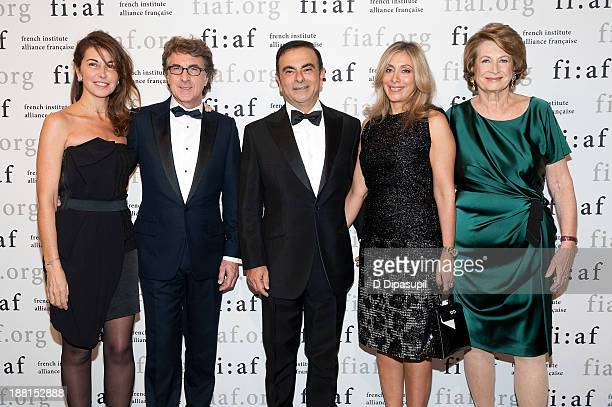 Narjiss Cluzet Francois Cluzet Carlos Ghosn Carole Nahas and Marie Monique Steckel attend the 2013 Trophee Des Arts gala on November 15 2013 in New...