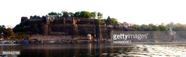 narmada ghats in maheshwar town in madhya pradesh, india - indore stock photos and pictures