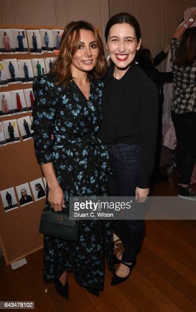 Narmina Marandi and Emilia Wickstead attend the Emilia Wickstead AW17 catwalk show at The College on February 18 2017 in London England