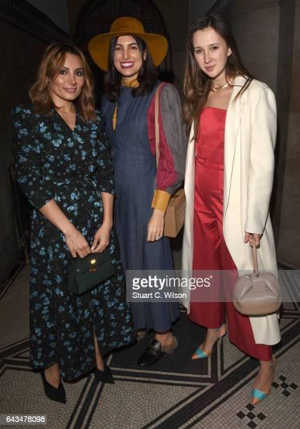 Narmina Marandi Federica Fanari and Maria Baibakova attend the Emilia Wickstead AW17 catwalk show at The College on February 18 2017 in London England