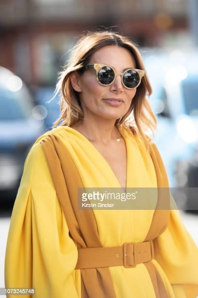 Narmina Marandi wears an Emelia Wickstead dress during London Fashion Week September 2018 on September 17 2018 in London England