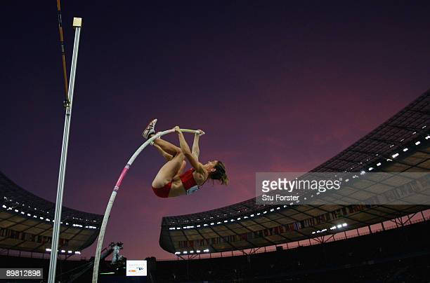 Naroa Agirre of Spain competes in the women's Pole Vault Qualifying during day one of the 12th IAAF World Athletics Championships at the Olympic...