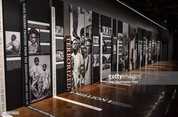 A narrative display of racial injustice is shown at the Legacy Museum on April 19 2018 in Montgomery Al