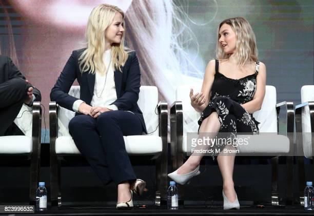 Narrator/producer Elizabeth Smart and actor Alana Boden of 'I Am Elizabeth Smart' speak onstage during the Lifetime and AE portion of the 2017 Summer...