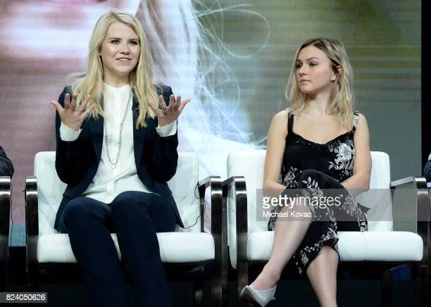 Narrator/producer Elizabeth Smart and actor Alana Boden of 'I Am Elizabeth Smart' speak onstage during the A+E Networks portion of the 2017 Summer...