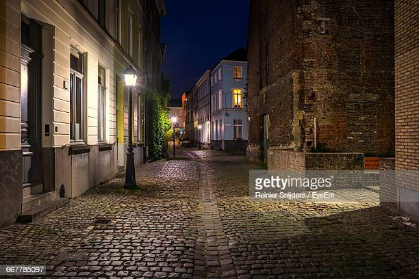 Narrow Alley Along Buildings At Night