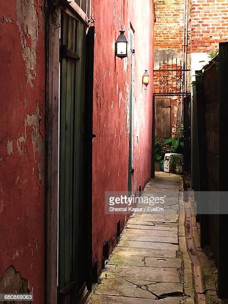 Narrow Alley Amidst Building In City