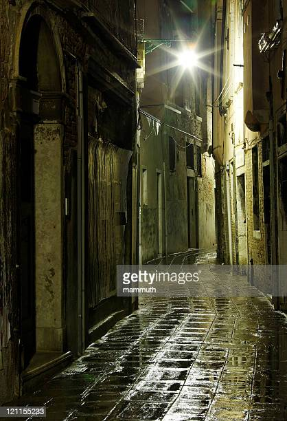 Narrow alley in Venice after rain