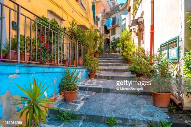 narrow alley with steps in naples, italy - カンパニア州 ストックフォトと画像