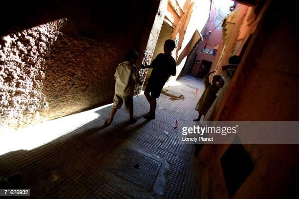 Narrow alleys of the Kasbah, Marrakesh, Morocco