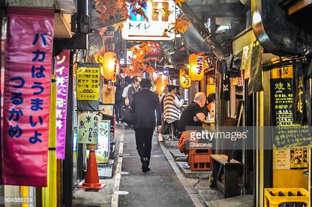 Narrow backstreet alley in Shinjuku, Japan