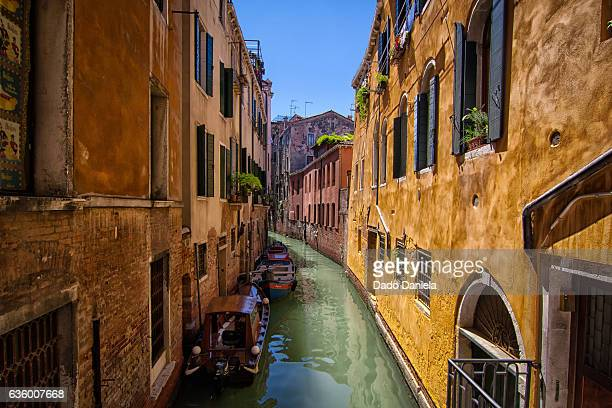 narrow canal - vaporetto stock photos and pictures