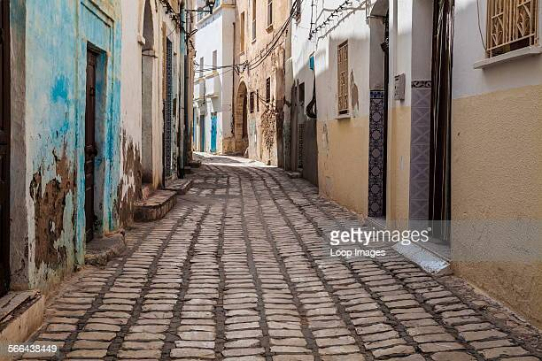Narrow cobbled sidestreet in the medina in Sousse in Tunisia