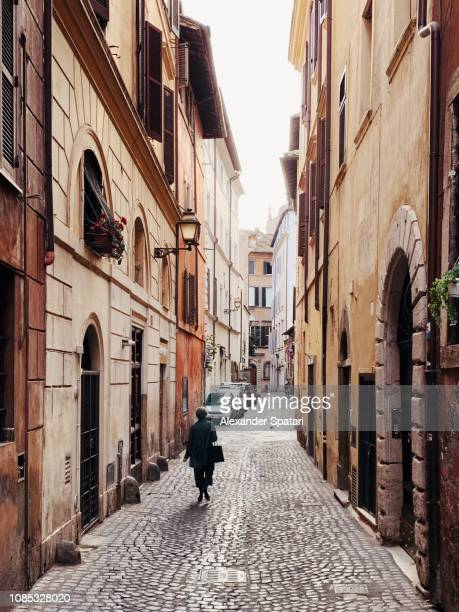 Narrow cobblestone street in Rome old town, Lazio, Italy