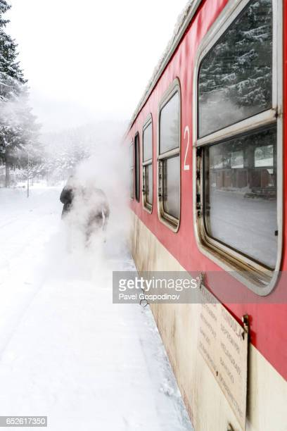 a narrow gauge train at a train station in the rhodope mountainsllage covered by snow - narrow stock pictures, royalty-free photos & images