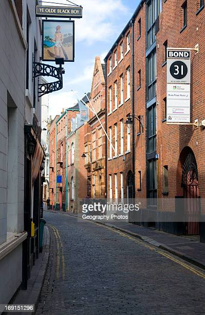 Narrow High Street in the old town Hull Yorkshire England
