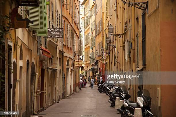 Narrow land in the old town neighborhood of Nice,