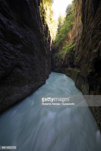Narrow limestone canyon Aare Gorge