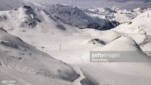 A narrow ski slope under snowy mountains in the Alps