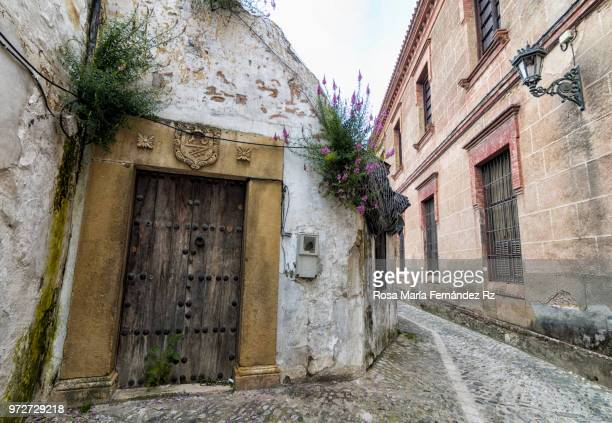 narrow street amidst abandoned and weathered buildings with old wooden door in foreground, ronda, malaga, spain - ronda fotografías e imágenes de stock