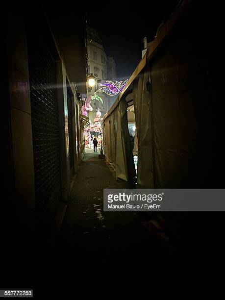 Narrow Street By Buildings At Night