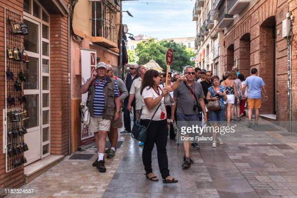 narrow street in málaga with a group of tourists coming this way lead by a guide - dorte fjalland stock pictures, royalty-free photos & images
