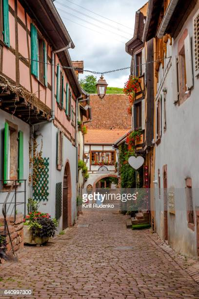 A narrow street in Riquewihr, Alsace, France