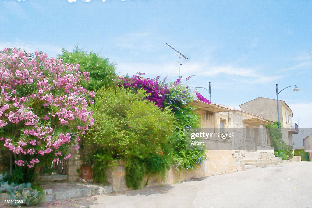 Rua estreita em San Pantaleo : Foto de stock