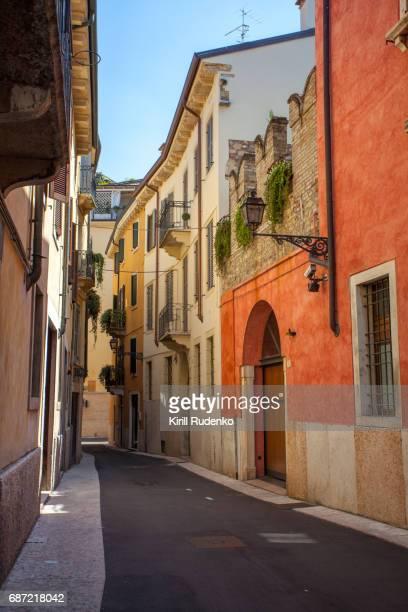 Narrow street in the historic center of Verona, Italy