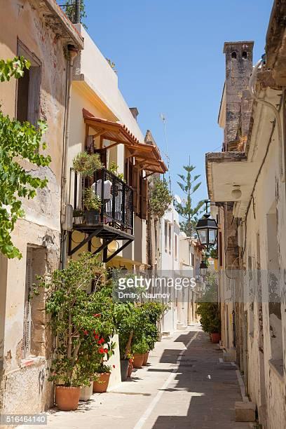 Narrow street of Rethymno old town, island of Crete, Greece, Mediterranean
