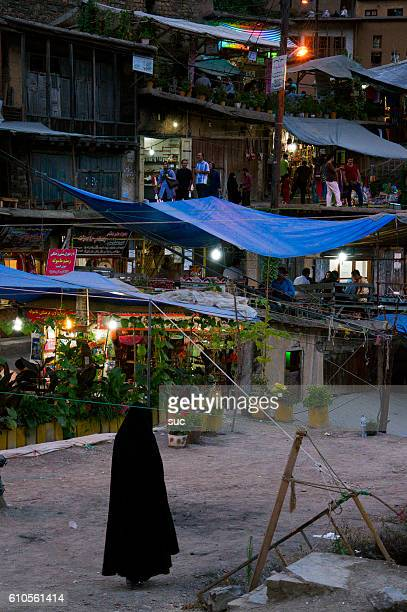 Narrow streets of Masuleh at night, Iran