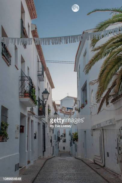 Narrow Whitewashed Street at Dusk
