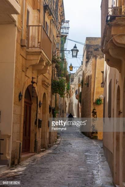 Narrow winding street in Rabat, Gozo