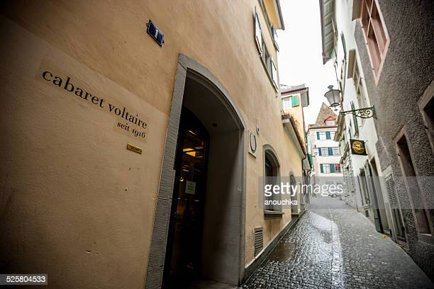 narrow zurich street and cabaret voltaire - cabaret stock pictures, royalty-free photos & images