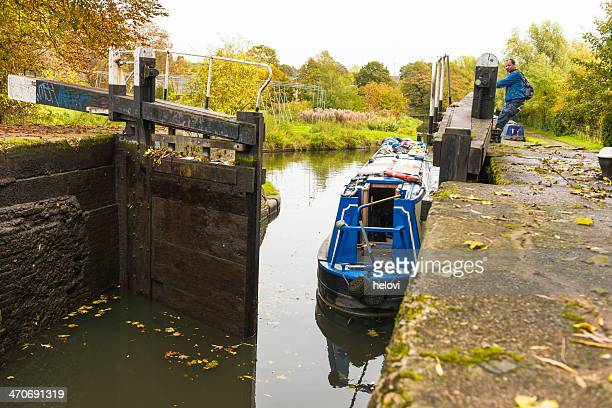 narrowboat passing river lock - hemel hempstead stock photos and pictures