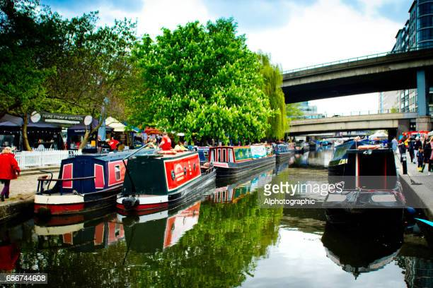 narrowboats moored at little venice - paddington london stock pictures, royalty-free photos & images