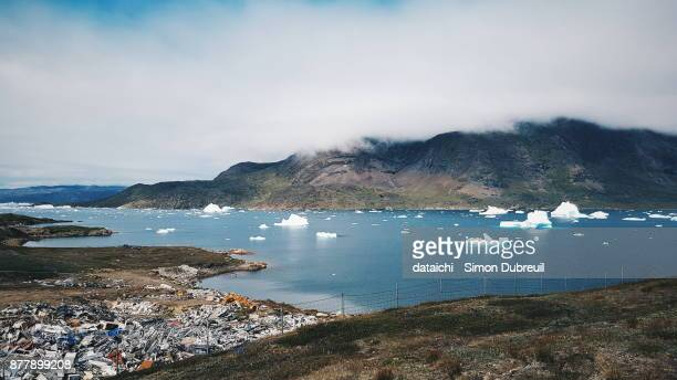 Narsaq dump near to icebergs